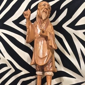 Vintage Carved Wooden Asian Fisherman